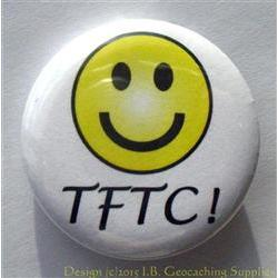 TFTC White Geocaching Button