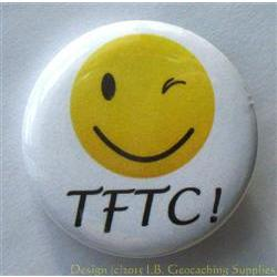 TFTC Winking Smiley Geocaching Button