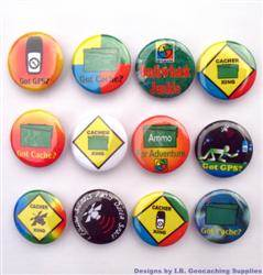 Cacher Crossing and More Geocaching Button Set