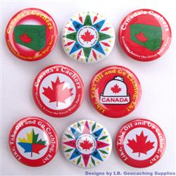 Canadian Geocaching Button Set