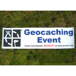 Geocaching Logo Trackable Event Banner - Blue Text