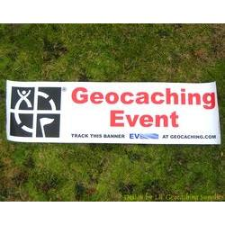 Geocaching Logo Trackable Event Banner - Red Text