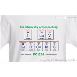 I LuV GeOCoInS - The Chemistry of Geocaching Trackable T-shirt