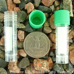 Plastic 2ml Nano Geocache Container with Green Cap and O-Ring