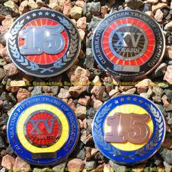 15 Years of Geocaching Geocoin Pair