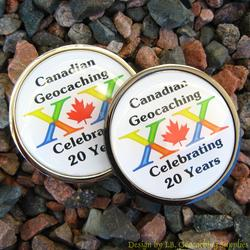 Canadian Geocaching 20 Years Geocoin