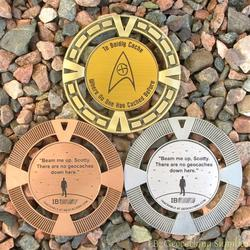 Cache Trek - Beam Me Up No Geocaches Here Geomedal Geocoin 3 Finish Set