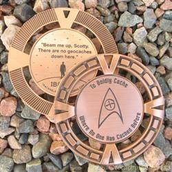 Cache Trek - Beam Me Up No Geocaches Here Geomedal Geocoin