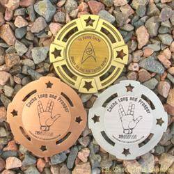 Cache Trek - Cache Long and Prosper Geomedal Geocoin 3 Finish Set
