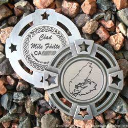 Cape Breton Island - Antique Silver Geomedal Geocoin with Star Cutouts