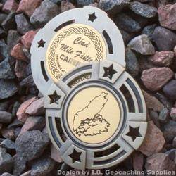 Cape Breton Island - Antique Gold Geomedal Geocoin with Star Cutouts