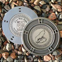 Cape Breton Island - Antique Silver Geomedal Geocoin with Small Cutouts