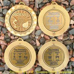 Antique Gold Chemistry of Geocaching Geomedal Geocoin Spinners - 4 Design Set