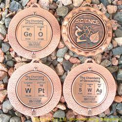 Antique Bronze Chemistry of Geocaching Geomedal Geocoin Spinners - 4 Design Set