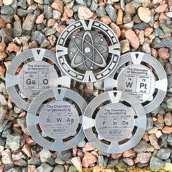 The Chemistry of Geocaching - Antique Silver Geomedal Geocoin 4 Design Set