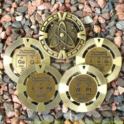 The Chemistry of Geocaching - Antique Gold Geomedal Geocoin 4 Design Set