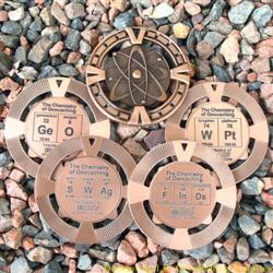The Chemistry of Geocaching - Antique Bronze Geomedal Geocoin 4 Design Set