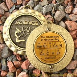 AmErICaN CaCHEr - The Chemistry of Geocaching - Antique Gold Geomedal Spinner