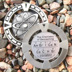 AmErICaN CaCHEr - The Chemistry of Geocaching - Antique Silver Geomedal Geocoin