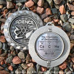 CaCHe - The Chemistry of Geocaching - Antique Silver Spinning Geomedal Geocoin
