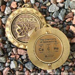 CaCHe - The Chemistry of Geocaching - Antique Gold Spinning Geomedal Geocoin