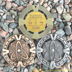 CaCHe - The Chemistry of Geocaching Geomedal Geocoin 3 Finish Set