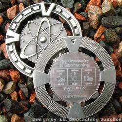 CaCHe - The Chemistry of Geocaching - Antique Silver Geomedal Geocoin
