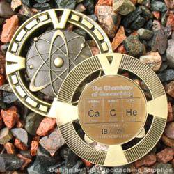 CaCHe - The Chemistry of Geocaching - Antique Gold Geomedal Geocoin
