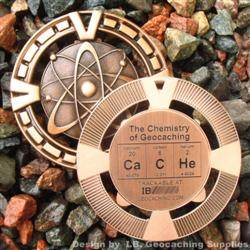 CaCHe - The Chemistry of Geocaching - Antique Bronze Geomedal Geocoin