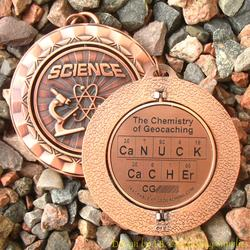 CaNUCK CaCHEr - The Chemistry of Geocaching - Antique Bronze Geomedal Spinner