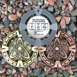 FInDs - The Chemistry of Geocaching Geomedal Geocoin 3 Finish Set