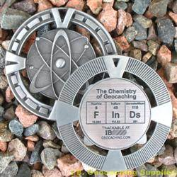 FInDs - The Chemistry of Geocaching - Antique Silver Geomedal Geocoin
