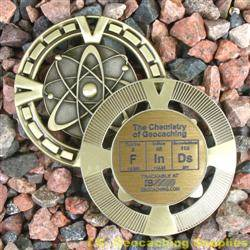 FInDs - The Chemistry of Geocaching - Antique Gold Geomedal Geocoin