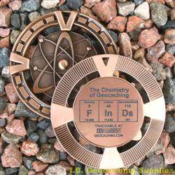 FInDs - The Chemistry of Geocaching - Antique Bronze Geomedal Geocoin