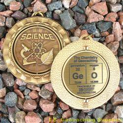 GeO - The Chemistry of Geocaching - Antique Gold Spinning Geomedal Geocoin