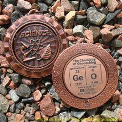 GeO - The Chemistry of Geocaching - Antique Bronze Spinning Geomedal Geocoin