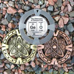 GeO - The Chemistry of Geocaching Geomedal Geocoin 3 Finish Set