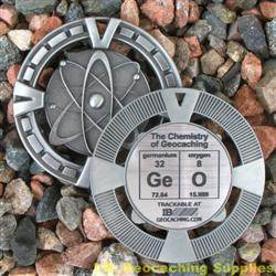 GeO - The Chemistry of Geocaching - Antique Silver Geomedal Geocoin