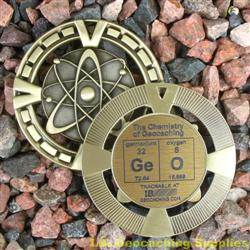 GeO - The Chemistry of Geocaching - Antique Gold Geomedal Geocoin