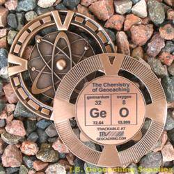 GeO - The Chemistry of Geocaching - Antique Bronze Geomedal Geocoin