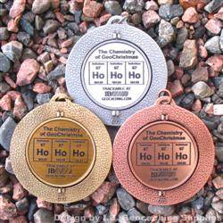 Ho Ho Ho - The Chemistry of GeoChristmas - Antique Trio Geomedal Geocoin Set