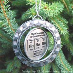 Ho Ho Ho - The Chemistry of GeoChristmas - Antique Silver Spinning Geomedal Geocoin