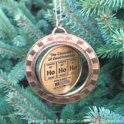 Ho Ho Ho - The Chemistry of GeoChristmas - Antique Gold Spinning Geomedal Geocoin