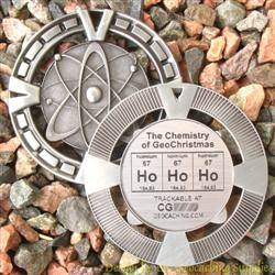 Ho Ho Ho - The Chemistry of GeoChristmas - Antique Silver Geomedal Geocoin