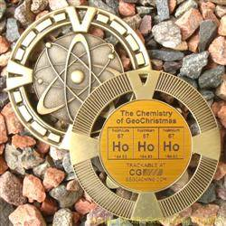 Ho Ho Ho - The Chemistry of GeoChristmas - Antique Gold Geomedal Geocoin