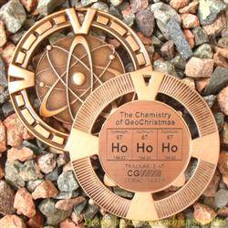 Ho Ho Ho - The Chemistry of GeoChristmas - Antique Bronze Geomedal Geocoin