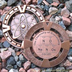 NO NaNoS - The Chemistry of Geocaching - Antique Bronze Geomedal Geocoin