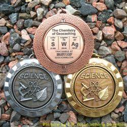 SWAg - The Chemistry of Geocaching - Antique Trio Spinning Geomedal Geocoins