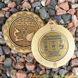 SWAg - The Chemistry of Geocaching - Antique Gold Spinning Geomedal Geocoin