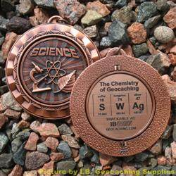 SWAg - The Chemistry of Geocaching - Antique Bronze Spinning Geomedal Geocoin